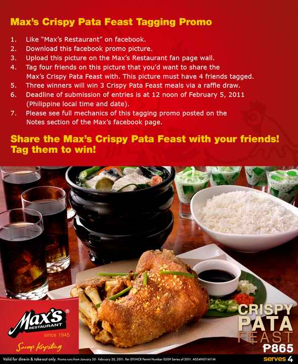 Max's Crispy Pata Feast Facebook Tagging Promo