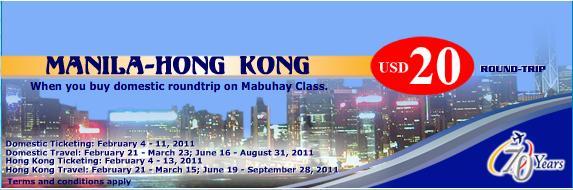 USD 20 Manila-Hongkong Roundtrip Ticket Promo